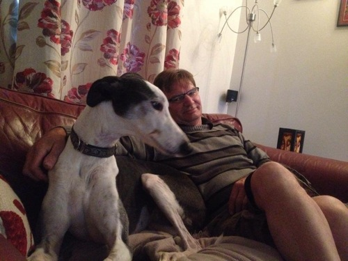 12 year old Moose relaxing with foster Dad, soon to be adoptive Dad Rod.